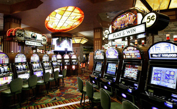 Slot machines are shown in the casino at Remington Park racetrack in Oklahoma City.  Photo By Paul B. Southerland, The Oklahoman