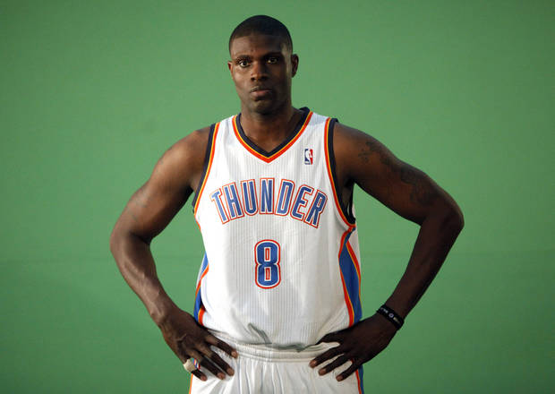 Oklahoma City's Nazr Mohammed films video segments at the the Thunder practice facility, Saturday, Feb, 26, 2011, in Oklahoma City.Photo by Sarah Phipps, The Oklahoman