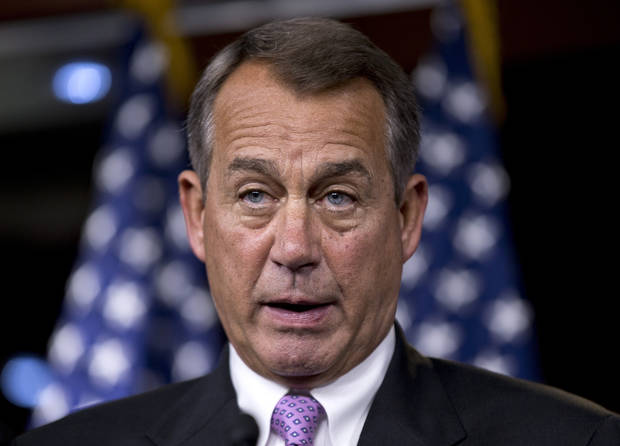 FILE - In this Sept. 21, 2012 file photo, House Speaker John Boehner of Ohio meets with reporter on Capitol Hill in Washington. A barrage of negative ads, more than $2 billion in spending and months of campaign stops come down to this reality: Americans will wake up Wednesday with likely the same divided Congress it had that past two years. Republicans are poised to keep their hold on the House, Democrats are most likely to narrowly hold the Senate. (AP Photo/J. Scott Applewhite, File)