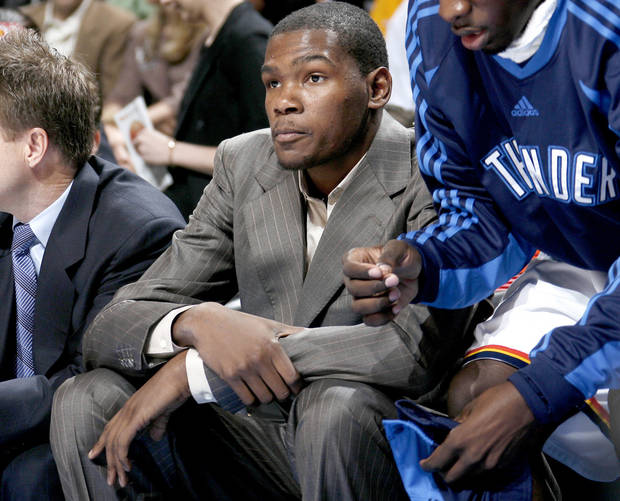 Oklahoma City's Kevin Durant sits on the bench during the Thunder's loss to the Magic on Wednesday. PHOTO BY BRYAN TERRY, THE OKLAHOMAN