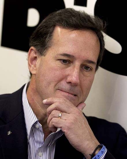 FILE - In this April 4, 2012 file photo, Republican presidential candidate, former Pennsylvania Sen. Rick Santorum visits Bob's Diner in Carnegie, Pa. Santorum is suspending his campaign for the GOP presidential nomination, clearing a path for Mitt Romney to become the nominee. (AP Photo/Jae C. Hong, File)