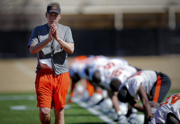 Oklahoma State defensive coordinator Glenn Spencer during the first day of spring football practice at Oklahoma State University in Stillwater, Okla., on Monday, March 10, 2014.  Photo by Chris Landsberger, The Oklahoman