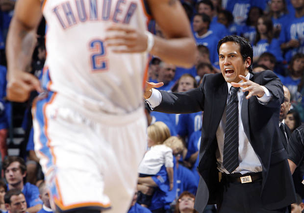 Miami coach Erik Spoelstra reacts during Game 1 of the NBA Finals between the Oklahoma City Thunder and the Miami Heat at Chesapeake Energy Arena in Oklahoma City, Tuesday, June 12, 2012. Photo by Chris Landsberger, The Oklahoman