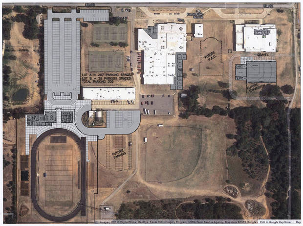 This is an aerial view of what the Harrah High School campus area would look like if the Harrah school board schedules a vote and voters approve a $36.47 million bond issue. Architect's rendering provided <strong>Prepress</strong>