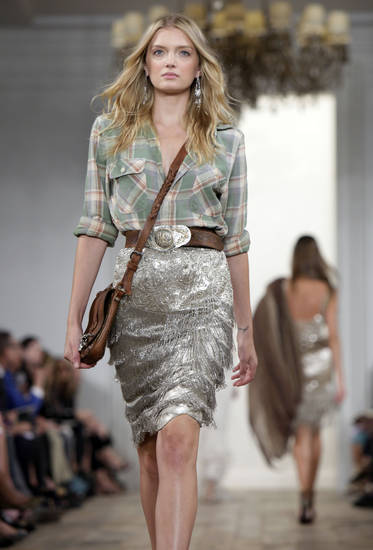 The spring 2011 collection of Ralph Lauren is modeled during Fashion Week in New York, Thursday, Sept. 16, 2010. (AP Photo/Richard Drew) ORG XMIT: NYRD127