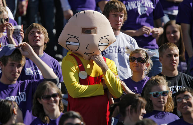 A Kansas State fan dressed up as the character 'Stewie' during the second half of the college football game between the Oklahoma State University Cowboys (OSU) and the Kansas State University Wildcats (KSU) on Saturday, Oct. 30, 2010, in Manhattan, Kan.   Photo by Chris Landsberger, The Oklahoman