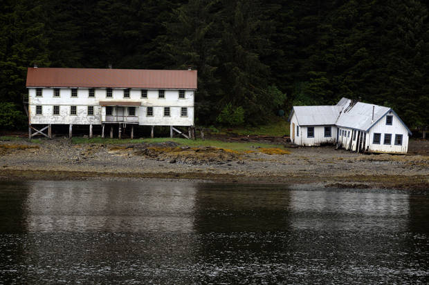 An old cannery sits on shore of Sitkoh Bayin Southeast Alaska, Friday, June 8, 2012.  Photo by Sarah Phipps, The Oklahoman