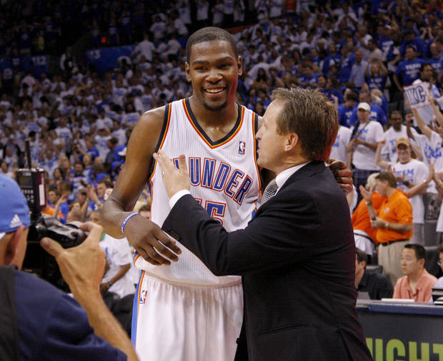 Oklahoma City's Kevin Durant talks with coach Scot Brooks after Game 2 in the second round of the NBA playoffs between the Oklahoma City Thunder and L.A. Lakers at Chesapeake Energy Arena in Oklahoma City, Wednesday, May 16, 2012. Oklahoma City won 77-75. Photo by Bryan Terry, The Oklahoman