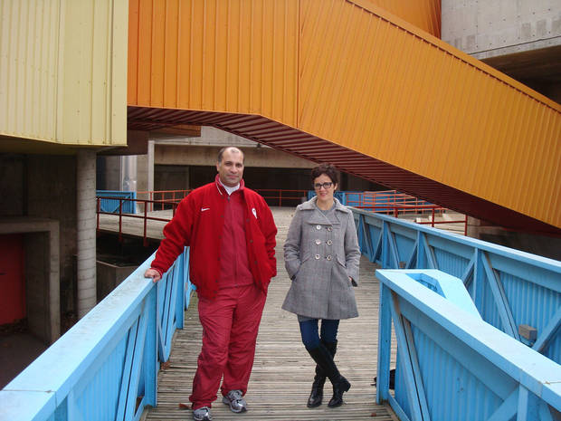 Architect Farooq Karim and  public relations consultant Tracey Zeeck stand along one of the ramps leading into downtown Oklahoma City's closed Stage Center. The pair hope to turn the building into a children's museum. <strong>Provided</strong>