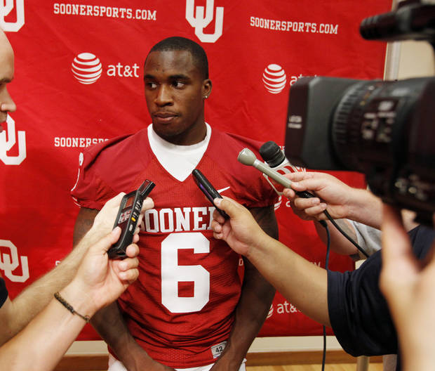 Demontre Hurst (6) speaks with the media during the Meet the Sooners event inside Gaylord Family/Oklahoma Memorial Stadium at the University of Oklahoma on Saturday, Aug. 4, 2012, in Norman, Okla.  Photo by Steve Sisney, The Oklahoman