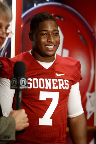 Corey Nelson (7) speaks with the media during the Meet the Sooners event at the University of Oklahoma on Saturday, Aug. 4, 2012, in Norman, Okla.  Photo by Steve Sisney, The Oklahoman