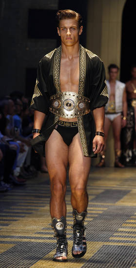 A model wears a creation by Versace from the men's Spring-Summer 2013 collection, part of the Milan Fashion Week, unveiled in Milan, Italy, Saturday, June 23, 2012. (AP Photo/Luca Bruno)