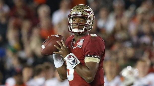 Florida State Seminoles quarterback Jameis Winston (5) in action against the Auburn Tigers for the 2014 BCS National Championship game at the Rose Bowl. Mandatory Credit: Matthew Emmons-USA TODAY Sports