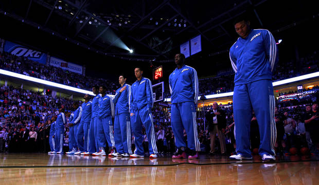 The Thunder stand during the national anthem before an NBA basketball game between the Oklahoma City Thunder and the Miami Heat at Chesapeake Energy Arena in Oklahoma City, Thursday, Feb. 15, 2013. Miami won 110-100. Photo by Bryan Terry, The Oklahoman