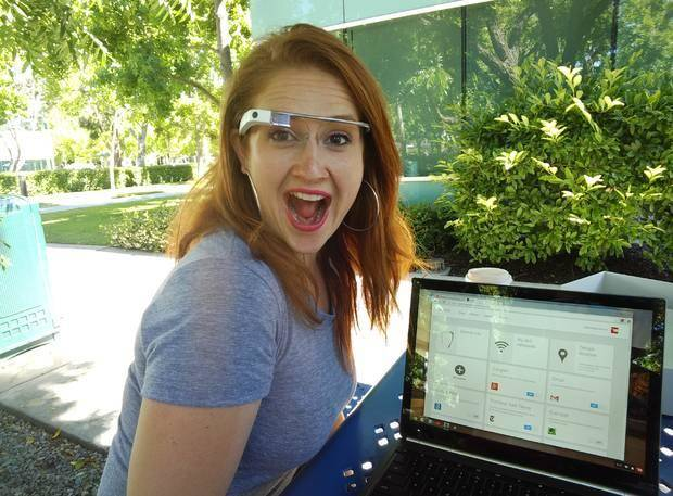Google employee Svetlana Saitsky gets excited about Google Glass when she shows new Glass Explorers how to work the device. PHOTO BY LILLIE-BETH BRINKMAN, THE OKLAHOMAN.