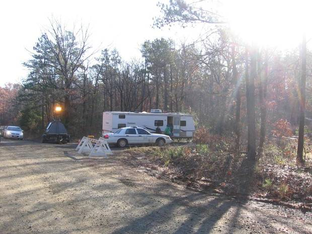The command post set up near the site of the crash that killed OSU women's basketball coach Kurt Budke, assistant coach Miranda Serna, former state Senator Olin Branstetter, 82, and his wife, Paula, is seen this morning in this photo by Perry County Headlight newspaper assistant editor Betty Holbrook.