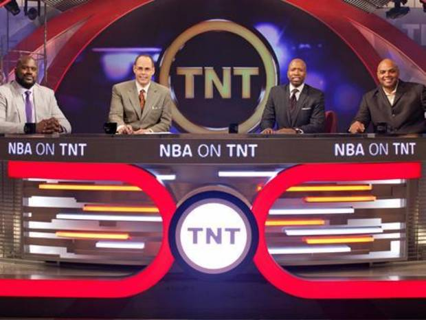 From left, TNT crew of Shaquille O'Neal, Ernie Johnson, Kenny Smith and Charles Barkley.