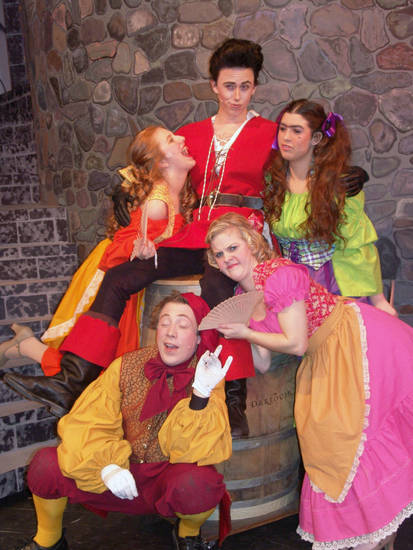 "Gaston (Joel Anderson), the Silly Girls (Karly Hazelrigg, Cassidy Gierhart and Mackenzie Kulig) and LeFou (Alan Beck) pose for a group photo. Choctaw High School's production of ""Beauty and the Beast"" opens Thursday.    <strong>PROVIDED - PROVIDED</strong>"