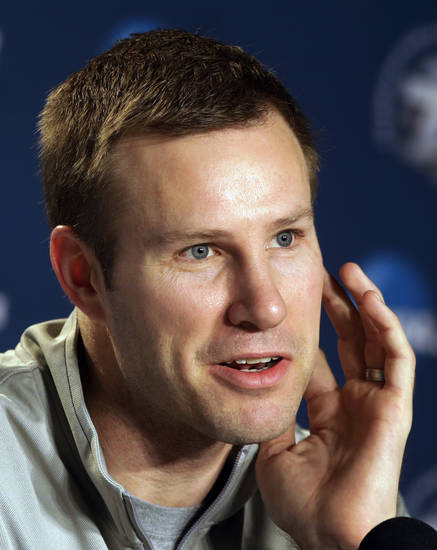 Iowa State head coach Fred Hoiberg answers questions during a news conference at the NCAA college basketball tournament, Saturday, March 23, 2013, in Dayton, Ohio. Iowa State is scheduled to play Ohio State on Sunday. (AP Photo/Al Behrman)