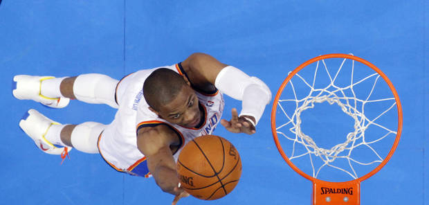 Oklahoma City's Russell Westbrook (0) shoots a lay up during Game 5 in the second round of the NBA playoffs between the Oklahoma City Thunder and the L.A. Lakers at Chesapeake Energy Arena in Oklahoma City, Monday, May 21, 2012. Photo by Sarah Phipps, The Oklahoman