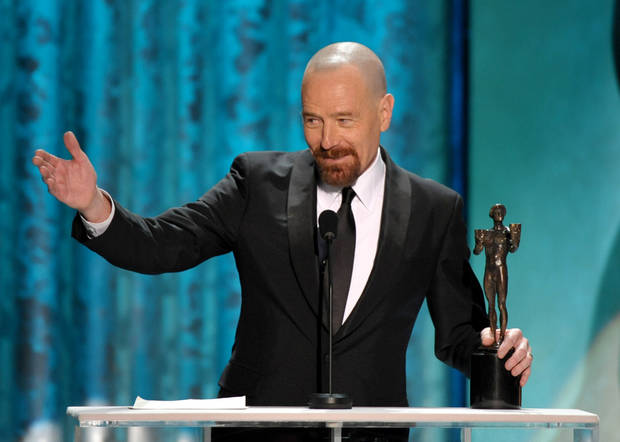Bryan Cranston accepts the award for outstanding male actor in a drama series for �Breaking Bad� at the 19th Annual Screen Actors Guild Awards at the Shrine Auditorium in Los Angeles on Sunday Jan. 27, 2013. (Photo by John Shearer/Invision/AP)