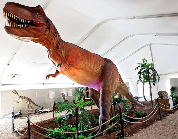 A Tyrannosaurus Rex is one of the dinosaurs on display at the zoo. PHOTO BY JOHN CLANTON, THE OKLAHOMAN