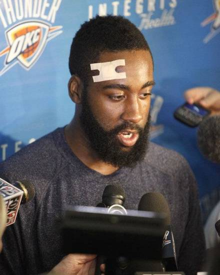 James Harden speaks to reporters during the Thunder's after practice media event at the Thunder practice facility in Oklahoma City, OK, Friday, May 20, 2011. By Paul Hellstern, The Oklahoman ORG XMIT: KOD <strong>PAUL HELLSTERN</strong>