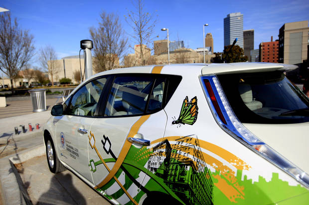 Oklahoma City officials added two electric cars to the city fleet in an effort to cut down on fuel costs. Photo by  Sarah Phipps,  The Oklahoman