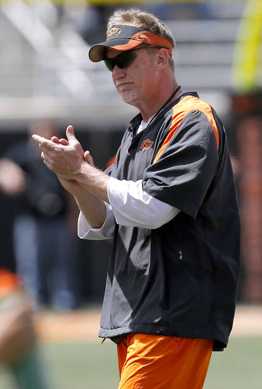 Oklahoma State defensive coordinator Glenn Spencer reacts OSU's spring football game at Boone Pickens Stadium in Stillwater, Okla., Sat., April 20, 2013. Photo by Bryan Terry, The Oklahoman