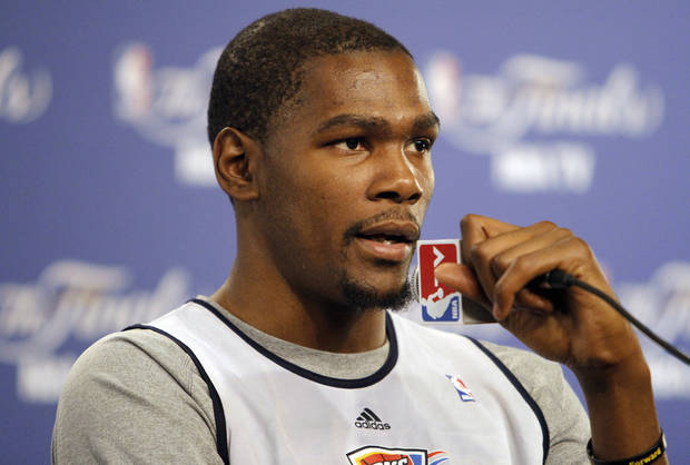 Oklahoma City's Kevin Durant talks to the media during the NBA Finals practice day at the Chesapeake Energy Arena on Monday, June 11, 2012, in Oklahoma City, Okla. Photo by Chris Landsberger, The Oklahoman