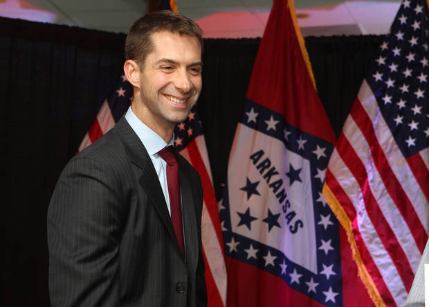 Republican candidate for Arkansas' 4th Congressional District Tom Cotton of Dardnelle, Ark., talks to supporters at an election watch party at the Austin Convention Hotel & Spa, Tuesday, Nov. 6, 2012, in Hot Springs, Ark. (AP Photo/The Sentinel-Record, Richard Rasmussen)