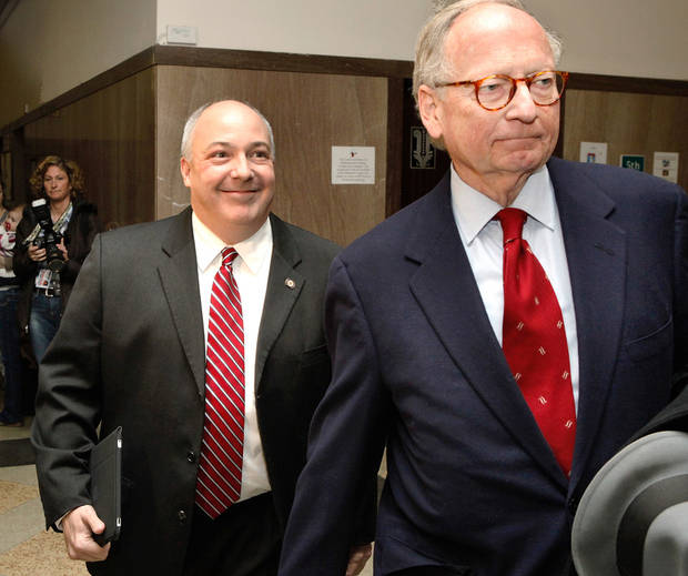 State Rep. Randy Terrill appeared Monday afternoon, Jan. 3, 2011, before Special Judge  Russell Hall in an Oklahoma County courtrooom to enter a plea on bribery charges.  He is pictured artriving with attorney Stephen Jones. Photo by Jim Beckel, The Oklahoman