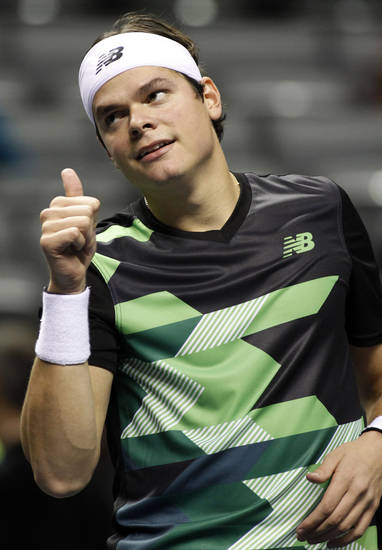 Milos Raonic reacts after defeating Sam Querrey, 6-4, 6-2 in a semifinal match at the SAP Open tennis tournament in San Jose, Calif., Saturday, Feb. 16, 2013. (AP Photo/George Nikitin)