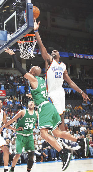 The Thunder's Jeff Green, right, blocks the shot of Boston's Ray Allen in the second half at the Ford Center on Wednesday. PHOTO BY NATE BILLINGS, THE OKLAHOMAN