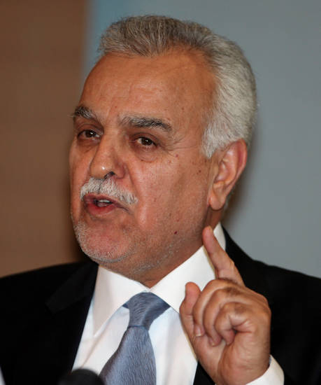 FILE - Iraq's Vice President Tariq al-Hashemi speaks to the media during a news conference in Ankara, Turkey, in this Monday, Sept. 10, 2012 file photo. An Iraqi court on Thursday Nov. 1 2012 unexpectedly convicted the country's fugitive Sunni vice president on charges of instigating bodyguards to assassinate a senior government official and sentenced him to death. The verdict was the second death sentence for al-Hashemi in less than two months, and is likely to stoke further resentment among Iraq's minority Sunni Muslims against the Shiite-led government. The sentence is unlikely to be carried out any time soon because al-Hashemi has exiled himself in neighboring Turkey. He fled Iraq in December 2011 after the government accused him of playing a role in numerous attacks.(AP Photo/Burhan Ozbilici, file)