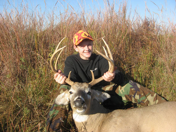 Jacob Smith, 13, of Oklahoma City with an 8-point buck from Alfalfa County taken during the youth gun season. Photo provided