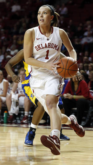 Oklahoma's Nicole Kornet (1) drives to the lane during the second half as the University of Oklahoma Sooners (OU) play the Riverside Highlanders in NCAA, women's college basketball at The Lloyd Noble Center on Thursday, Dec. 20, 2012  in Norman, Okla. Photo by Steve Sisney, The Oklahoman
