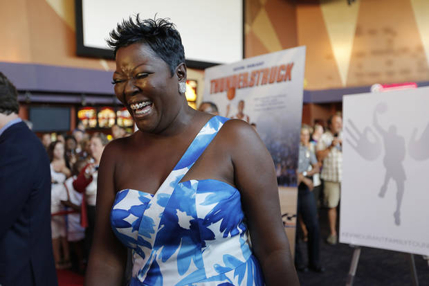 Wanda Pratt, mother of Kevin Durant, laughs during the red carpet premiere of Thunderstruck at Harkins Bricktown Theatre in Oklahoma City, Sunday, Aug. 19, 2012.  Photo by Garett Fisbeck, For The Oklahoman