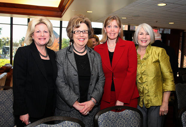 Debby Dudman, Helen Wallace, Cristi Reiger and Jeary Seikel pose at a dedictaion ceremony for a collection of art donated by The Burbridge Foundation in honor of seven of Bobbie Burbridge Lane's special friends. Photo by David Faytinger, The Oklahoman. <strong></strong>