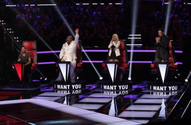THE VOICE -- Blind Auditions -- Pictured: (l-r)  Adam Levine, CeeLo Green, Christina Aguilera, Blake Shelton -- (Photo by: Byron Cohen/NBC)