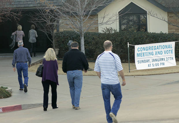 Members of First Presbyterian Church of Edmond arrive at the church, 1001 S Rankin, Sunday for a congregational vote to decide if the church will leave the Presbyterian Church (USA).  <strong>DOUG HOKE - THE OKLAHOMAN</strong>