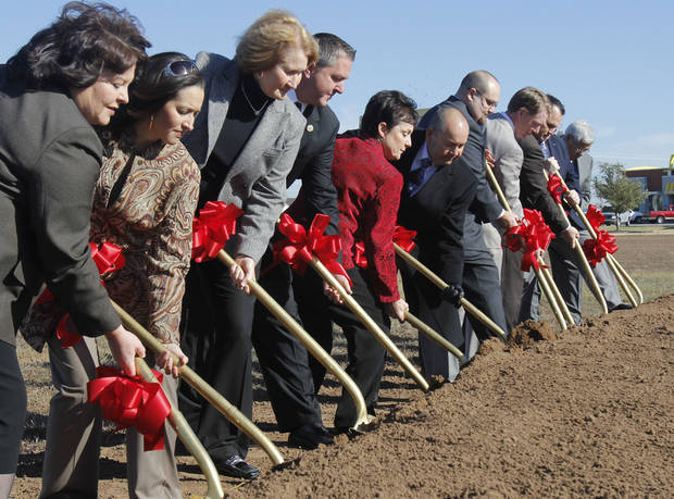 Above: Chickasaw Nation officials and other dignitaries participate in a groundbreaking Thursday for a medical clinic to be built adjacent to the Riverwind Casino.