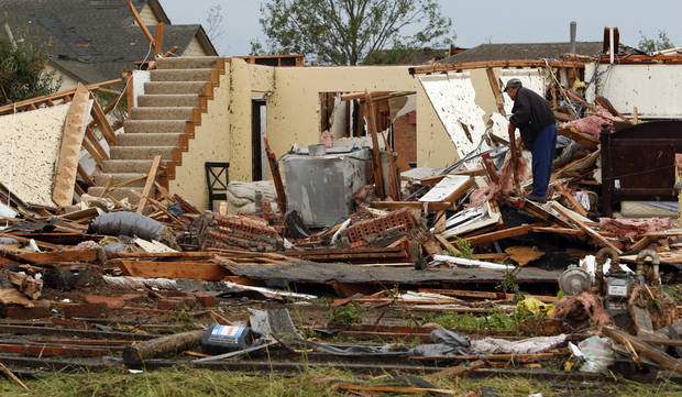 Stairs lead nowhere after a tornado damaged homes near SW 149th and Western on Monday, May 20, 2013  in Moore, Okla. Photo by Steve Sisney, The Oklahoman