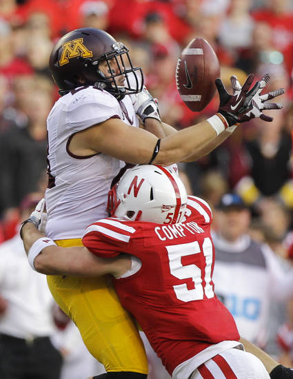 Nebraska's Will Compton (51) breaks up a pass intended for Minnesota's John Rabe in the first half of an NCAA college football game in Lincoln, Neb., Saturday, Nov. 17, 2012. (AP Photo/Nati Harnik)