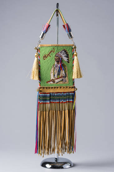 �Looking Forward, Looking Back-Mirror Bag,� a beadwork/quillwork entry by Orlando Dugi and Kenneth Williams, was selected Best of Show at the Cherokee Art Market awards. Photo provided