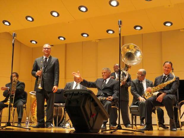 In Oklahoma City for Oklahoma City University's inaugural performance of the Distinguished Artist Series was the Preservation Hall Jazz Band from New Orleans, La. (Photo by Helen Ford Wallace).