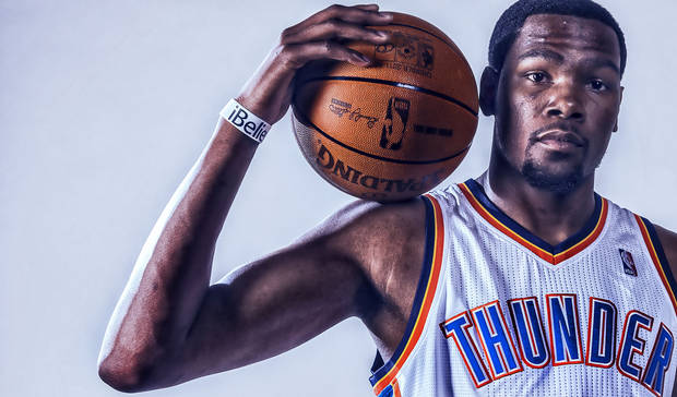 The original portrait of Kevin Durant taken on Thunder media day by Chris Landsberger.