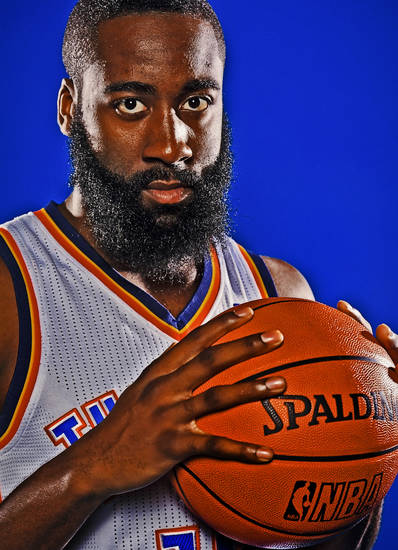 OKLAHOMA CITY THUNDER NBA BASKETBALL TEAM: James Harden during Thunder Media Day photos on Monday, Oct. 1, 2012, in Oklahoma City, Oklahoma.  Photo by Chris Landsberger, The Oklahoman