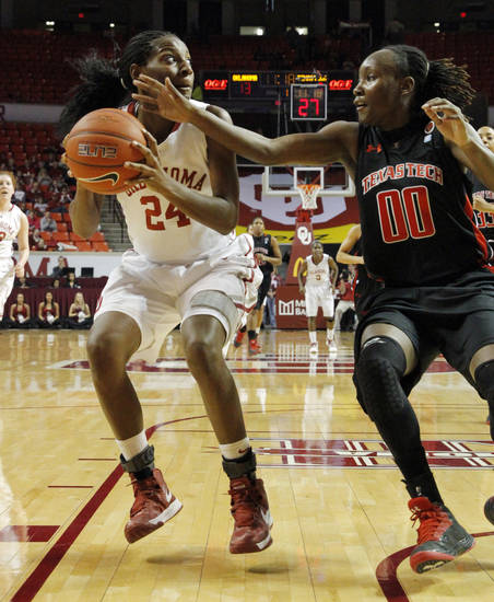 Oklahoma Sooner's Sharane Campbell (24) is guarded by Tech's Chynna Brown (00) as the University of Oklahoma Sooners (OU) play the Texas Tech Lady Red Raiders in NCAA, women's college basketball at The Lloyd Noble Center on Saturday, Jan. 12, 2013 in Norman, Okla. Photo by Steve Sisney, The Oklahoman