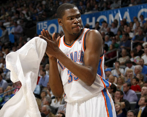 Oklahoma City's Kevin Durant (35) reacts during the NBA basketball game between the Oklahoma City Thunder and the Los Angeles at the Oklahoma City Arena, Wednesday, April 6, 2011. Photo by Bryan Terry, The Oklahoman
